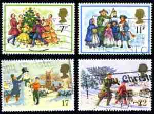 Vintage British Christmas stamps copyright ecliff6 iStock_000004773594