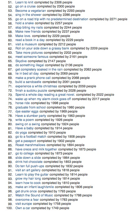 43 Things Popular Complete Goals 51-100