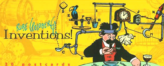 Rube Goldberg postcard book cover