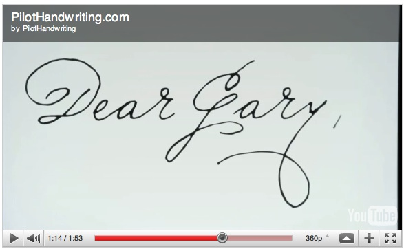 Pilot Handwriting video screenshot Dear Gary
