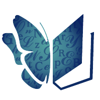 Writers' Resort Logo of a butterfly. The left wing is a butterfly, the right wing a book.